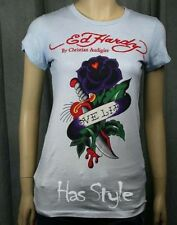 ED Hardy Womens Love Life Dip Dye rose Light Blue T Shirt