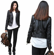 Women's Punk PU soft Leather Motorcycle Zipper collar Coat Biker Jacket