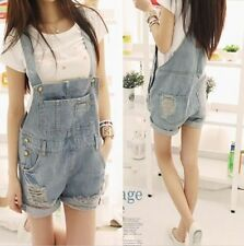 Casual Women Washed Jeans Jumpsuit Denim Hole Girls Romper Overalls Jeans Shorts