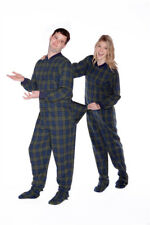 Navy Blue & Green Plaid Flannel Adult Mens Footed Pajamas w/ Butt Flap Onesie