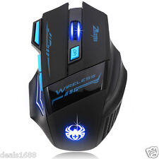 Adjustable 2400DPI Optical Wireless Gaming Mouse LED Mice USB For Laptop PC Lot