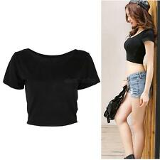 Women Girls Shirts Scoop Neck Basic Deep Back Short Sleeve Cropped Belly Tee Top