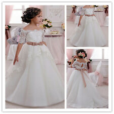 Ivory Flower Girl Dress Pageant Prom Wedding Birthday Communion Prom Ball Party