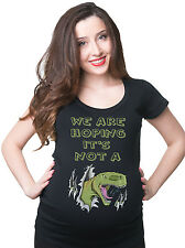 Funny Dinosaur Maternity T-shirt We are Hoping its not a Dinosaur Pregnancy Tee