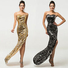 Formal Sequins Long Sexy Spilt Prom Dress Evening Wedding Bridesmaid Party Gown