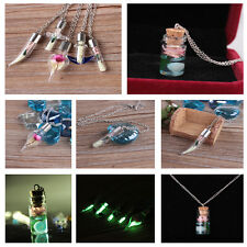 Fashion Luminous Dry Flower Glass Bottle Silver Plated Pendant Chain Necklace