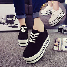 New Fashion Sneakers Women's Lace Up Canvas High-top High Platform Casual Shoes