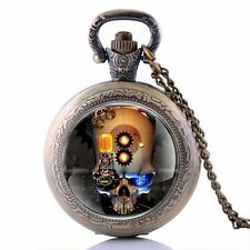 Pendant Skull Head Necklace Retro Vintage Pocket Watch Antique Quartz Gift Chain