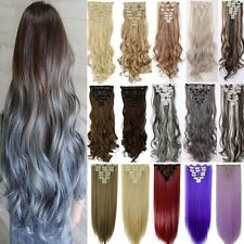 Top Natural Clip in Hair Extensions 8 Piece Full Head Curly As Human Remy  H811