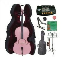 New 4/4-1/4 Size PINK Cello,Case,Bag,Bow+Strings+2 Stands,Tuner,Rosin,Mute