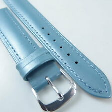 HQ 12~20MM PEARLY BLUE ITALY LAMBSKIN LEATHER WATCH BAND PEARL SMOOTH STRAP