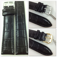 HQ BLACK 14mm 16mm ITALY GLOSSY CROC GRAIN LEATHER WATCH BAND STRAP w/CLASP