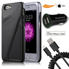 Hard Back ShockProof Slim Hybrid Case Cover iphone 6 6s Plus+Cable+Car Charger