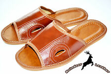 Mens Real Genuine Brown Leather Slippers Shoes Sandal Handmade Poland Flip Flop