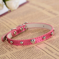 Mushroom Studded Dog Collar Pink Leather Collars For Dogs Adjustable Puppy Pets