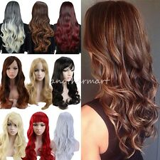 Womens Ladies Long Ombre Wig Straight Wavy Blonde Grey Brown Black Mixed Wigs #K