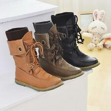 Retro Womens Lace Up Buckle Strap Ankle Boots Round Toe Girls Shoes Size P253