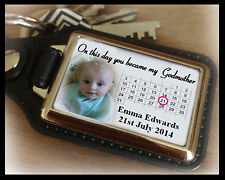 Personalised keyring, on this day you became Godmother, birthday christmas gift