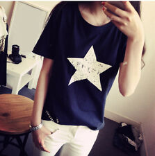 New Hot Casual Shirt Cotton Blouse Women Summer Ladies Top Pentagram Loose