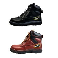 MENS GROUND WORK SAFETY LEATHER BOOTS STEEL TOE CAP TRAINER HIKER ANKLE SHOES