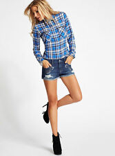 NEW GUESS GRUNGE PLAID UTILITY BUTTON DOWN SHIRT BLUE BEAD LONG SLEEVE XS M L