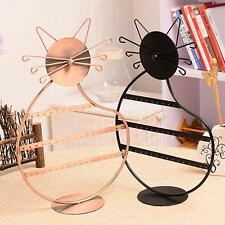 Kitty Cat Shape Earrings Necklace Jewellery Display Stand Holder Show Rack