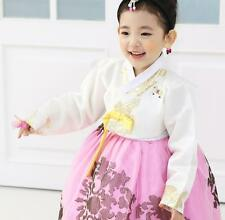 Hanbok Girl Korean traditional Dress Korea Baby 1st birthday Party White Pink