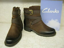 Ladies Clarks Orinoco Sash Brown Leather Casual Zip Up Ankle Boots