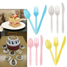 24pcs Plastic Cutlery Wedding Party Forks Spoons Knives Birthday Cakes Tableware