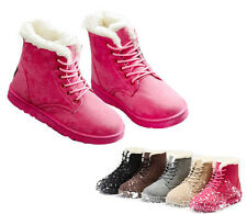 Winter Womens Ankle Snow Boots Ladies Thicken Suede Warm Short Flat Boots 36~40