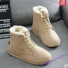 Warm Winter Womens Shoes Lace Up Faux Suede Fur Linning Ankle Snow Boots Fashion