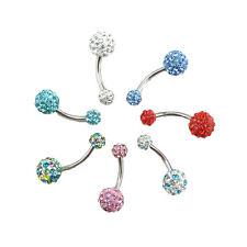 Navel Belly Button Ring Barbell Rhinestone Crystal Ball Piercing Body Jewelry ZH