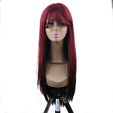 """14-26"""" Front Lace Wigs Silky Straight Synthetic Wigs Full Wigs Natural BUR"""