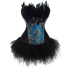 Sexy Lace Up Sexy Strapless Peacock Feather Boned Corset Bustier Costume Dress T