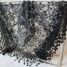 Fashion Women Sheer Short Scarf Wrap Shawl Lace Hollow Tassel Floral Silk Scarve