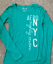 GIRLS Aeropostle NYC graphic shirt Size100% cotton L green  long sleeve