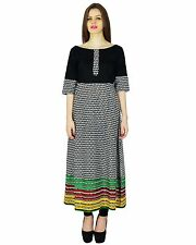 Geometric Bollywood Indian Kurta Women Ethnic Kurti Cotton Rayon Tunic Top