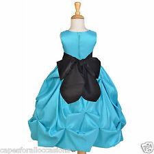 POOL/TURQUOISE FLOWER GIRL DRESS PAGEANT TAFFETA 2 2T 3 3T 4 4T 5T 6 6X 7 8 9 10