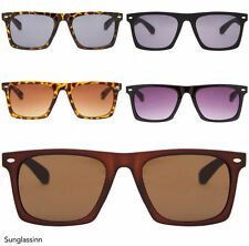 Mens Hipster Flat Top Black Ray UV400 Wayfarer Style Sunglasses