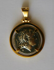 ALEXANDER THE GREAT GREEK COIN pendant sterling silver 925 gold plated CODE 113