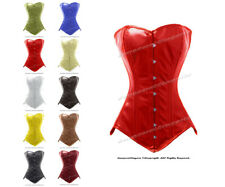 26 Double Steel Boned Waist Training Leather Long Line Overbust Corset 8151-LE