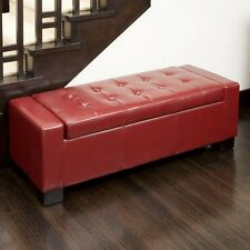 Red Leather Storage Ottoman Bench Trunk Seat Bedroom Living Room Furniture