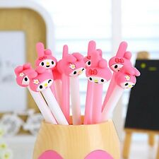 Creative Pink Rabbit Head Design Black Ink Gel Pen Student Stationery