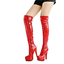 Womens Patent Leather Sexy Nightclub Full Zip Over The Knee Thigh High Boots New