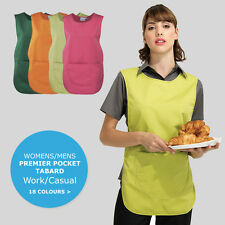 Tabard Apron With Pockets Work Wear Overall Catering Cleaning 18 Colours Tabbard