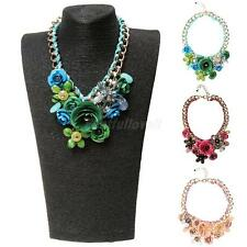 Lady Fashion Jewelry Banquet Big Chain Flower Crystal Pendant Statement Necklace