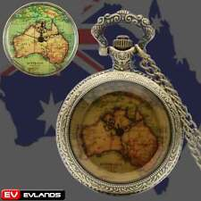 Vintage Bronze Australia Map Pocket Watch Quartz Necklace Pendant Chain Gift New