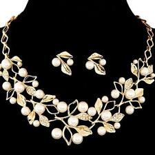 Beautiful Pearl Earring Set Bridal Fashion Necklace Chic Neck Chain Earring Set#