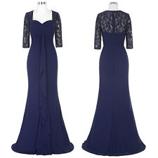 Half Lace Sleeve Chiffon Maxi Mother Of Bride Dress Formal Bridesmaid Prom Gown