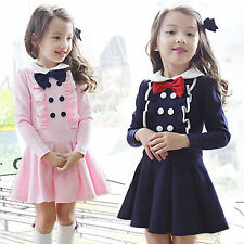 Kids Girls Toddlers Clothing Princess Long Sleeve Bowknot Dress Tutu Skirt 2-8Y
